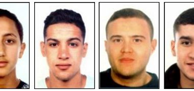 """A combo of handout images released by the Catalan regional police """"Mossos D'Esquadra"""" on August 18, 2017 shows four suspects of the Barcelona and Cambrils attacks, (from L) Moussa Oukabir, Said Aallaa, Mohamed Hychami and Younes Abouyaaqoub. Spanish police on August 18 released the names of three Moroccans suspected of deadly terror attacks and who were shot dead overnight by security forces in the seaside resort of Cambrils. Catalonia's regional police identified them as Moussa Oukabir, 17, Said Aallaa, 18, and Mohamed Hychami, 24. Police said they were searching for a fourth suspect, Younes Abouyaaqoub, aged 22. Drivers have ploughed on August 17, 2017 into pedestrians in two quick-succession, separate attacks in Barcelona and another popular Spanish seaside city, leaving 14 people dead and injuring more than 100 others.  / AFP PHOTO / MOSSOS D'ESQUADRA / - / RESTRICTED TO EDITORIAL USE - MANDATORY CREDIT """"AFP PHOTO / MOSSOS D'ESQUADRA"""" - NO MARKETING NO ADVERTISING CAMPAIGNS - DISTRIBUTED AS A SERVICE TO CLIENTS"""