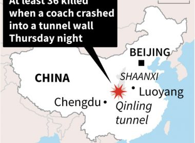 Map showing Shaanxi province in China where a bus crashed Thursday night leaving at least 36 people killed.