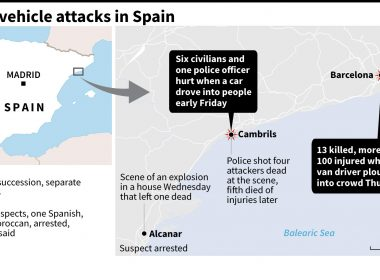Map of Spain locating two attacks on Thursday and Friday. (Time in Spain)  Courtesy Agence France Presse