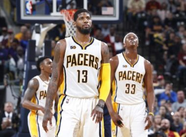 INDIANAPOLIS, IN - APRIL 23: Paul George #13 and Myles Turner #33 of the Indiana Pacers react in the second half of Game Four of the Eastern Conference Quarterfinals during the 2017 NBA Playoffs against the Cleveland Cavaliers at Bankers Life Fieldhouse on April 23, 2017 in Indianapolis, Indiana. The Cavaliers defeated the Pacers 106-102 to sweep the series 4-0. NOTE TO USER: User expressly acknowledges and agrees that, by downloading and or using the photograph, User is consenting to the terms and conditions of the Getty Images License Agreement.   Joe Robbins/Getty Images/AFP