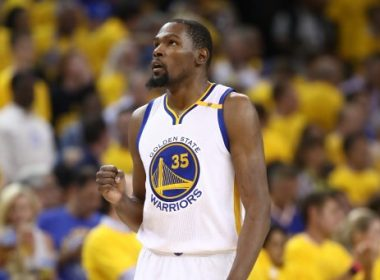 OAKLAND, CA - JUNE 12: Kevin Durant #35 of the Golden State Warriors reacts against the Cleveland Cavaliers during the first half in Game 5 of the 2017 NBA Finals at ORACLE Arena on June 12, 2017 in Oakland, California. NOTE TO USER: User expressly acknowledges and agrees that, by downloading and or using this photograph, User is consenting to the terms and conditions of the Getty Images License Agreement.   Ezra Shaw/Getty Images/AFP