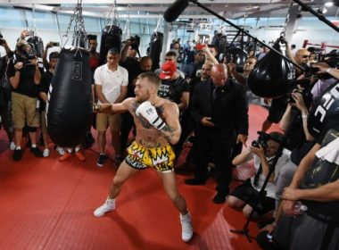 LAS VEGAS, NV - AUGUST 11: UFC lightweight champion Conor McGregor hits a heavy bag during a media workout at the UFC Performance Institute on August 11, 2017 in Las Vegas, Nevada. McGregor will fight Floyd Mayweather Jr. in a boxing match at T-Mobile Arena on August 26 in Las Vegas.   Ethan Miller/Getty Images/AFP