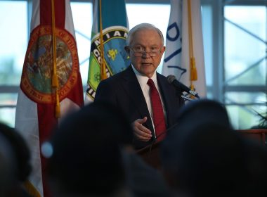 MIAMI, FL - AUGUST 16: U.S. Attorney General Jeff Sessions speaks at PortMiami on what he said is a growing trend of violent crime in sanctuary cities on August 16, 2017 in Miami, Florida. The speech highlighted jurisdictions like Miami-Dade that Mr. Sessions told the audience have increased their cooperation and information sharing with federal immigration authorities and have demonstrated a fundamental commitment to the rule of law and lowering violent crime. /AFP