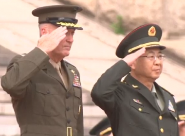US Marine Corps General Joseph Dunford, chairman of the Joint Chiefs of Staff, arrived in Beijing on Tuesday for a three-day diplomatic visit.(photo grabbed from Reuters video)