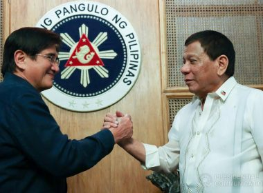 President Rodrigo Roa Duterte greets Senator Gregorio Honasan during a meeting with members of Reform the Armed Forces Movement (RAM) in Malacañan Palace on August 16, 2017. REY BANIQUET/PRESIDENTIAL PHOTO