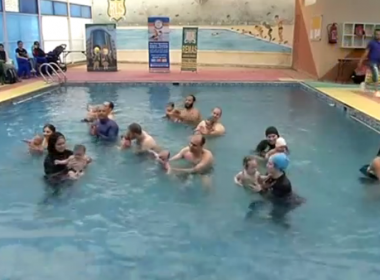Egyptian parents are teaching their infants how to swim in new classes held in Cairo, with many saying the exercise helps their babies sleep better at night and improves their overall physique.(photo grabbed from Reuters video)