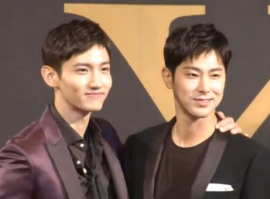 K-Pop Duo 'TVXQ' holding a news conference in Seoul (Photo grabbed from Reuters video)