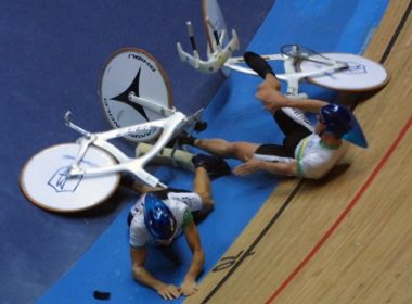 Australian Luke Roberts and Stephen Wooldridge (top) lay on the track after falling during the men's team pursuit qualifying event of the 2OO1 World Track Cycling Championships in Antwerp 27 September 2001. AFP PHOTO JOEL SAGET / AFP PHOTO / JOEL SAGET