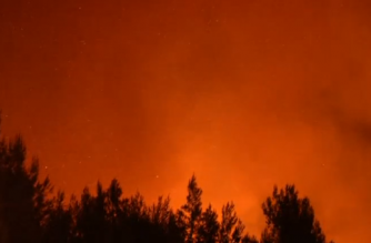 Flames and smoke rising from burning woodland around three towns near Athens on Monday night, August 14.