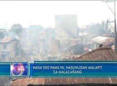 Nasa 500 na pamilya, nasunugan malapit sa Malacañang; Pangulong Duterte, personal na nag-abot ng tulong