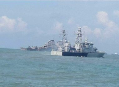 Photographs of US warship after collision with tanker near Singapore