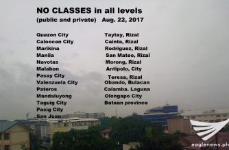 Updated: No classes in all levels, both public and private, in several Metro Manila and other areas