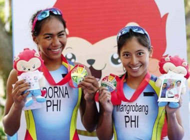Filipina triathlete Kim Mangrobang (right) won for the Philippines its third gold medal in the Women's Triathlon event.  Meanwhile 2015 gold medalist Claire Adorna won the silver medal, in the same event, giving Team Philippines a 1-2 finish again.  (Photo courtesy Team Philippines facebook)