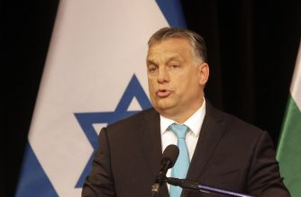 File Photo: Hungarian Prime Minister Viktor Orban delivers his speech in Budapest synagogue during a visit of Israeli Prime Minister.   / AFP PHOTO /