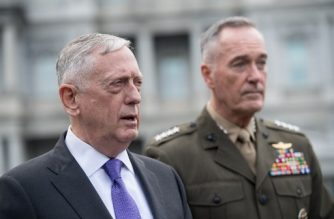 "US Defense Secretary James Mattis (L) and Gen. Joseph Dunford, chairman of the Joint Chiefs of Staff, arrive to speak to the press about the situation in North Korea at the White House in Washington, DC, on September 3, 2017. The US will launch 'massive military response' to any threat from Pyongyang, Mattis said. US President Donald Trump on Sunday denounced North Korea's detonation of what it claimed was a hydrogen bomb able to fit atop a missile, saying the time for ""appeasement"" was over and threatening drastic economic sanctions. / AFP PHOTO / NICHOLAS KAMM"