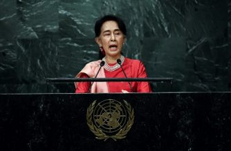 (FILES) This file photo taken on September 21, 2016 shows Myanmar's State Counsellor and Foreign Minister Aung San Suu Kyi addressing the 71st session of United Nations General Assembly at the UN headquarters in New York. As Rakhine state burns and Rohingya flee, Myanmar's leader Aung San Suu Kyi is preparing to address the nation for the first time on the crisis -- a high wire act that will seek to soothe outraged global opinion without baiting an army which is again showing its teeth. / AFP PHOTO / Jewel SAMAD