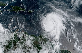 "This satellite image obtained from the National Oceanic and Atmospheric Administration (NOAA) shows Hurricane Maria at 1215 UTC on September 18, 2017.  Maria strengthened to a Category Two storm Monday with maximum sustained winds of 110mph (175kph), as it menaced Caribbean islands already hard-hit by Hurricane Irma. The US National Hurricane Center expected Maria to grow into a a Category Three later Monday with the French territory of Guadeloupe, the staging area for relief operations for several islands battered by Irma, in the crosshairs.  / AFP PHOTO / NOAA/RAMMB / HO / RESTRICTED TO EDITORIAL USE - MANDATORY CREDIT ""AFP PHOTO / NOAA/RAMMB"" - NO MARKETING NO ADVERTISING CAMPAIGNS - DISTRIBUTED AS A SERVICE TO CLIENTS"