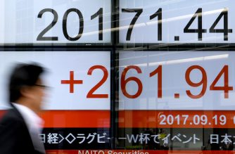 A pedestrian walks past an electronic stock indicator at the window of a security company in Tokyo on September 19, 2017.  Tokyo's benchmark Nikkei index rose past 20,000 for the first time in six weeks on September 19 after Wall Street edged up to a new record close and a weak yen lifted exporters. / AFP PHOTO /