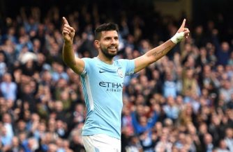 "(FILES) This file photograph taken on September 23, 2017, shows Manchester City's Argentinian striker Sergio Aguero as he celebrates after scoring their fourth goal during the English Premier League football match between Manchester City and Crystal Palace at the Etihad Stadium in Manchester, north west England. Manchester City's Argentine striker Sergio Aguero ""sustained injuries"" in a car crash in the Netherlands and is returning to Britain to be checked ahead of the weekend's Premier League fixtures, the club said September 29, 2017. / AFP PHOTO / Oli SCARFF / RESTRICTED TO EDITORIAL USE. No use with unauthorized audio, video, data, fixture lists, club/league logos or 'live' services. Online in-match use limited to 75 images, no video emulation. No use in betting, games or single club/league/player publications.  /"