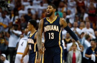 CLEVELAND, OH - APRIL 17: Paul George #13 of the Indiana Pacers reacts to a late foul call while playing the Cleveland Cavaliers in Game Two of the Eastern Conference Quarterfinals during the 2017 NBA Playoffs at Quicken Loans Arena on April 17, 2017 in Cleveland, Ohio. Cleveland won the game 117-111 to take a 2-0 series lead. NOTE TO USER: User expressly acknowledges and agrees that, by downloading and or using this photograph, User is consenting to the terms and conditions of the Getty Images License Agreement.   Gregory Shamus/Getty Images/AFP