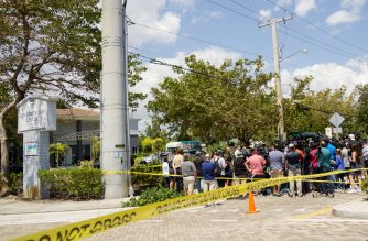 HOLLYWOOD, FL - SEPTEMBER 13: City officials and medical staff address the media outside of a rehabilitation center in the city where six patients were found dead September 13, 2017 in Hollywood, Florida. The deaths may be due to to the home's loss of air conditioning after Hurricane Irma struck on September 10, according to published reports.   Angel Valentin/Getty Images/AFP
