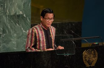 NEW YORK, NY - SEPTEMBER 20, 2017: Vice President of Myanmar Henry Van Thio addresses the U.N. General Assembly at the United Nations on September 20, 2017 in New York, New York. The most pressing issues facing the assembly this year include North Korea's nuclear ambitions, violence against the Rohingya Muslim minority in Myanmar, and the debate over climate change.   Kevin Hagen/Getty Images/AFP