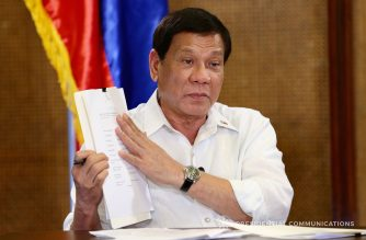 President Rodrigo Roa Duterte shows a document during his guesting in Erwin Tulfo's program 'Sa Totoo Lang' which was taped in Malacañan Palace on September 19, 2017. RICHARD MADELO/PRESIDENTIAL PHOTO