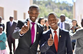 Two Iglesia Ni Cristo members from South Africa give the thumbs up sign during the inauguration of the INC School for Ministers in Ladybrand, South Africa on August 6, 2017.  On September 7, 2017,  Iglesia Ni Cristo members around the world commemorate the eight years of inspired and dynamic leadership of Brother Eduardo as the INC Executive Minister. (Eagle News Service)