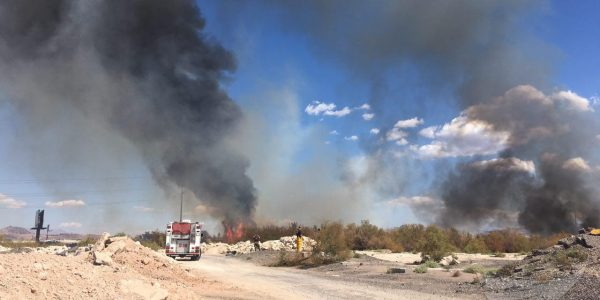 News in photo:  Interstate fire slows traffic in Las Vegas