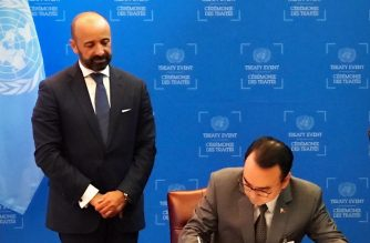 Foreign Affairs Secretary Alan Peter S. Cayetano signs the Treaty on the Prohibition of Nuclear Weapons on the sides of the 72nd Session of the United Nations General Assembly in New York on Wednesday, 20 September 2017. Looking on is UN Undersecretary for Legal Affairs Miguel de Serpa Soares. The Philippines is one of the 121 member-states that recently adopted the treaty, the first legally binding international agreement to comprehensively prohibit nuclear weapons with the goal of leading towards their total elimination.  (Photo release from the Department of Foreign Affairs)