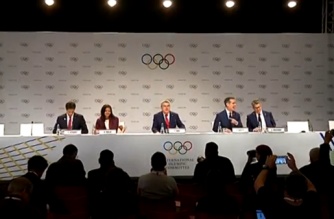 LA and Paris delegations speaking in news conference reacting to winning 2024 and 2028 bids for Olympics (Photo grabbed from Reuters video)