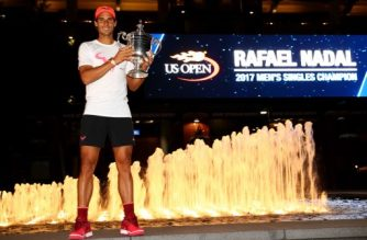 NEW YORK, NY - SEPTEMBER 10: Rafael Nadal of Spain poses with the championship trophy after he defeated Kevin Anderson of South Africa in the Men's Singles Finals match on Day Fourteen of the 2017 US Open at the USTA Billie Jean King National Tennis Center on September 10, 2017 in the Flushing neighborhood of the Queens borough of New York City. Nadal defeated Anderson in the third set with a score of 6-3, 6-3, 6-4.   Clive Brunskill/Getty Images/AFP