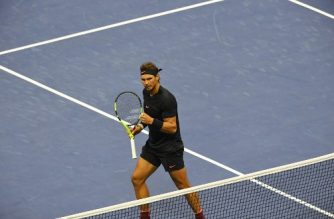 Rafael Nadal of Spain celebrates a point against Juan Martin del Potro of Argentina during their 2017 US Open Men's Singles semifinals match at the USTA Billie Jean King National Tennis Center in New York on September 8, 2017.  / AFP PHOTO / DON EMMERT