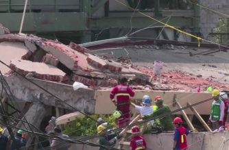 Collapse of Mexico school building captured in video