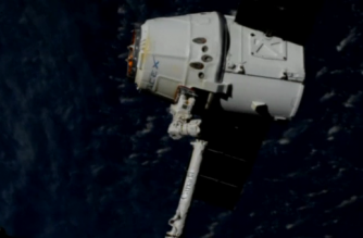 The Canadarm2, robotic arm on the International Space Station (ISS) was used to release the SpaceX Dragon, capsule, after it had been detached from earth facing port, on Sunday (September 17).(photo grabbed from Reuters video)