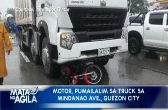 Motor, pumailalim sa truck sa Mindanao Ave., Quezon City