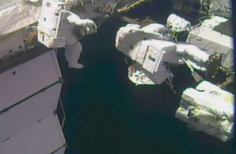 "This NASA TV video grab image obtained on October 10, 2017 shows astronauts outside the International Space Station. Two US astronauts embarked Tuesday on the second spacewalk this month to make much-needed repairs to the International Space Station's robotic arm, NASA said.Expedition 53 Commander Randy Bresnik is leading the outing, accompanied by NASA flight engineer Mark Vande Hei.  / AFP PHOTO / NASA TV / Handout / RESTRICTED TO EDITORIAL USE - MANDATORY CREDIT ""AFP PHOTO / NASA TV/HANDOUT"" - NO MARKETING NO ADVERTISING CAMPAIGNS - DISTRIBUTED AS A SERVICE TO CLIENTS"