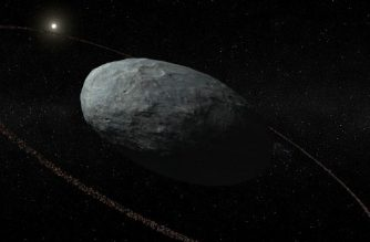 "This handout photo released by Nature Publishing group shows an artistic view of Haumea and its ring system with correct proportions for the main body and the ring. Move over Saturn! Scientists have found a ring around an unassuming mini-planet in our Solar System to debunk the theory that only giant planets can be so adorned. The planet, dubbed Haumea, orbits the Sun far beyond Neptune -- the eighth and furthest recognised ""full"" planet in our star system since Pluto was downgraded to dwarf status in 2006.  / AFP PHOTO / NATURE PUBLISHING GROUP"