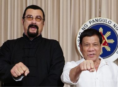 President Duterte and Seagal in Palace on Oct. 12, 2017
