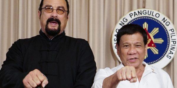 LOOK: Hollywood action star Steven Seagal meets President Duterte in Malacañang