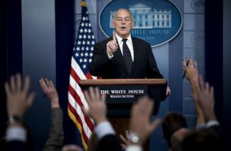 White House Chief of Staff John Kelly speaks about President Trump's calls to fallen service members next of kin during a briefing at the White House October 19, 2017 in Washington, DC. / AFP PHOTO / Brendan Smialowski