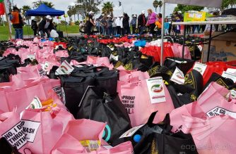 Hundreds of bags of goods are ready for distribution at the Iglesia Ni Cristo #AIdforHumanity (Lingap Sa Mamamayan) in New Zealand.  (Eagle News Service)