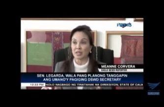 "Amid rumors she was next Social Welfare Secretary, Senator Legarda says she ""will finish"" her term as senator"