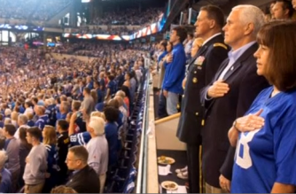 U.S. Vice President Mike Pence walked out of a National Football League game on Sunday (October 8) in his home state of Indiana after some players knelt during the national anthem, a form of demonstration that began last year as a symbolic protest about police violence against racial minorities.(photo grabbed from Reuters video)