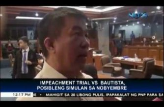 Senate looking at end of November as start of impeachment trial of COMELEC chair Bautista