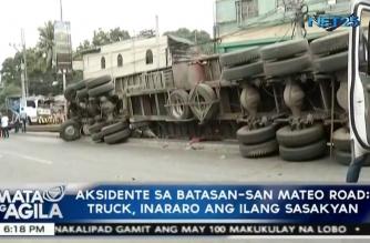 22-wheeler truck, inararo ang ilang sasakyan sa Batasan-San Mateo road; 5 katao kumpirmadong patay, 10 sugatan