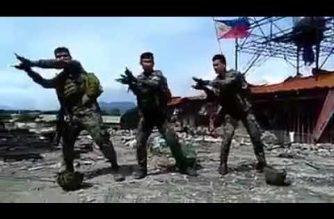 "WATCH: 3 members of the Philippine Marine Corps dance to the nursery rhyme ""Baby Shark"" in war-torn Marawi"