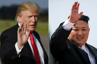 (FILES) This file combination photo created on October 1, 2017 shows US President Donald Trump at Morristown, New Jersey, Municipal Airport on September 15, 2017 and North Korean leader Kim Jong-Un waving following a military parade in Pyongyang on April 15, 2017.  Tensions have spiked this year with the North carrying out its sixth atomic test and launching missiles that appear to bring the US mainland within range, and its leader Kim Jong-Un trading threats of war and personal insults with US President Donald Trump. / AFP PHOTO / MANDEL NGAN AND ED JONES