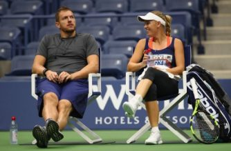 "(FILES) This file photo taken on August 26, 2017 shows Caroline Wozniacki of Denmark with her boyfriend American profesional basketball player David Lee during a practice session prior to the US Open Tennis Championships at USTA Billie Jean King National Tennis Center  in New York City.    World number three Caroline Wozniacki announced her engagement to American basketball player David Lee on November 3, 2017.  The Danish star, who won the season-ending WTA Finals last weekend, posted a picture of her diamond engagement ring on Twitter alongside a caption which read: ""Happiest day of my life yesterday saying yes to my soulmate."" Lee, a 34-year-old NBA free agent who spent the bulk of his career with the New York Knicks and Golden State Warriors, also posted about the engagement.  / AFP PHOTO / GETTY IMAGES NORTH AMERICA / CLIVE BRUNSKILL"