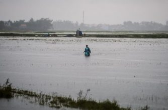 A man wades through a flooded field near the town of Hoi An on November 8, 2017, following days of heavy rains after Typhoon Damrey hit the coast. The death toll from typhoon downpours and floods wreaking havoc along Vietnam's south-central coast had risen to 69, authorities said on November 7, as the country prepares to host the world leaders' Asia-Pacific Economic Cooperation (APEC) Summit in Danang, just north of Hoi An. / AFP PHOTO / Anthony WALLACE